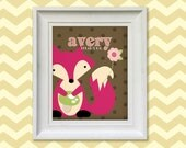 Nursery Art Print - Girl's Pink Fox 8x10 Personalized Baby Room Decor