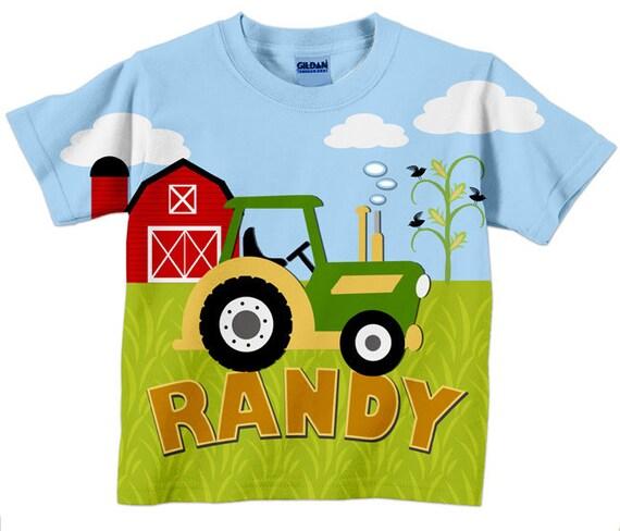 Tractor T-Shirt, Personalized Boys Green Tractor Shirt, Farm Birthday Shirt