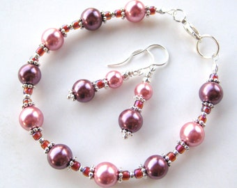 PLUM AND ROSE- Glass Beaded Pearl Bracelet or Anklet and Earrings- Beautiful Bridal Jewelry or Summer Jewelry Set
