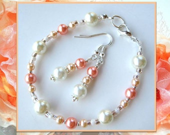 PEACHES and CREAM- Set of 3- Beaded Pearl Bracelet, Anklet, and Earrings- Beautiful Bridal Jewelry or Summer Jewelry Set