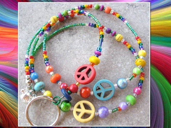 PEACEFUL TEACHER- Beaded ID Lanyard- Turquoise Peace Signs and Beads, Millefiore Beads, and a Rainbow of Glass Beads (Magnetic Clasp)