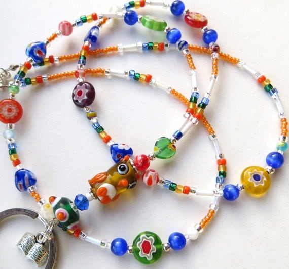 WISE RAINBOW OWL- Glass Beaded Id Lanyard- Millefiore Beads, Lampwork Owl, & Book Charm (Magnetic Clasp)
