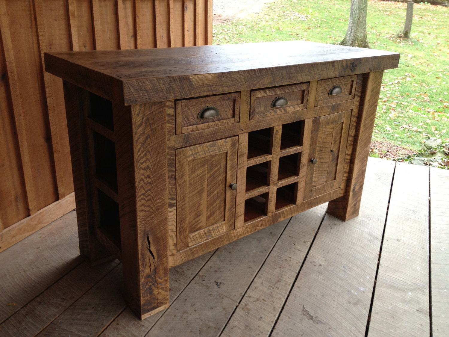 Custom Listing Aged Oak Kitchen Island With Wine Rack