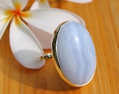 Blue Lace Agate Handmade Bezeled Cocktail Ring