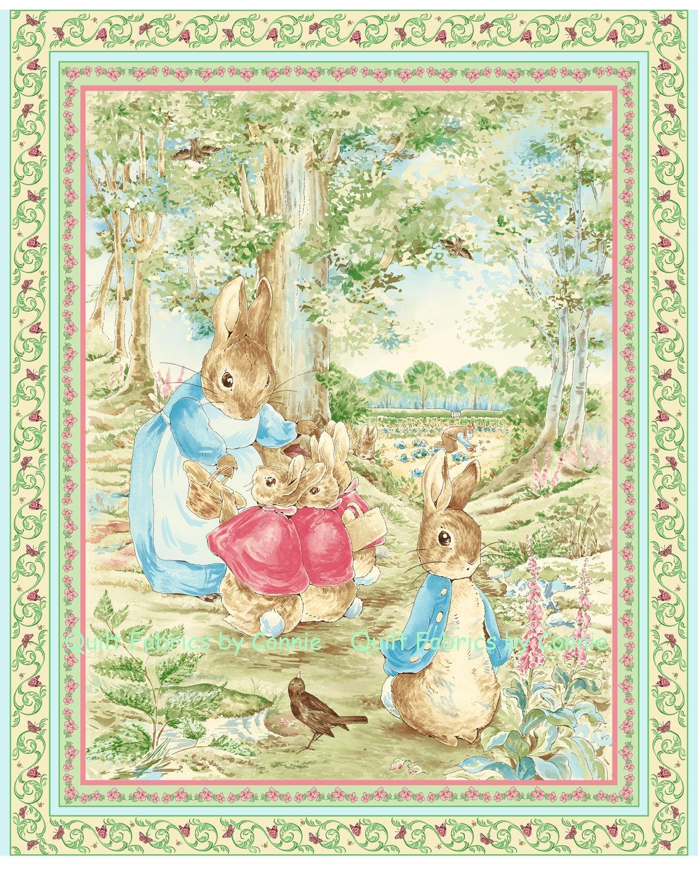 Beatrix Potter Garden Tales Fabric Panel Quilting Treasurers