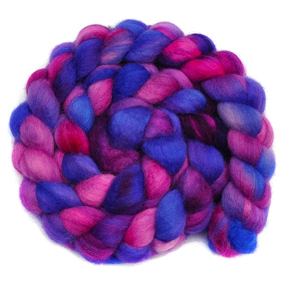 Handpainted roving - HELIOTROPE - Blue Faced Leicester (BFL) wool spinning fiber, 4.1 ounces