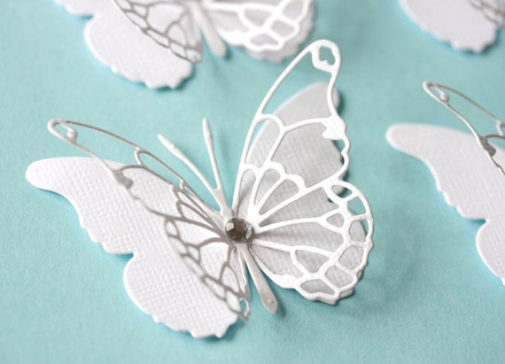 Set of 10 elegant classic  white  two layers lacey die cut butterflies wedding invitations any occastion party decor