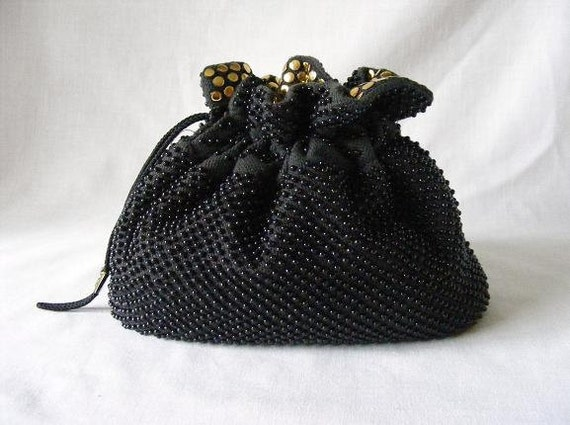 Black Gold Beaded Pouch Bag Purse Drawstring - REVERSIBLE - 1990s