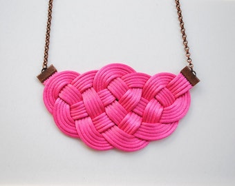 Fuchsia necklace, hot pink necklace, knot necklace, nautical necklace, japanese style, rope jewelry, summer trends, gift for her,