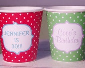 Personalized Polka Dot Hot/Cold Paper Party Cups - Choose from 72 colors - Set of 12