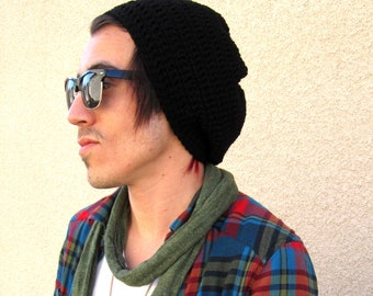 Men's Black Slouchy Hipster Crochet Hat Slouch Beenie Beanie Handmade Gifts For Guys Under 50 Dollars