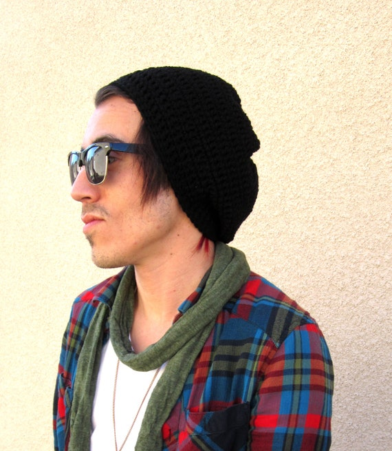 Negro Slouchy Hipster de hombres ganchillo gorro Slouch Beenie