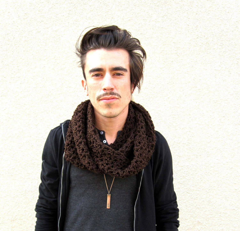 Men's brown infinity scarf