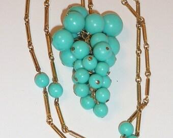 Vintage Mod Turquoise Grape Cluster Necklace