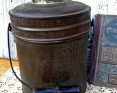 Old Tin Lunch Pail with Bale Handle and Inside Compartments
