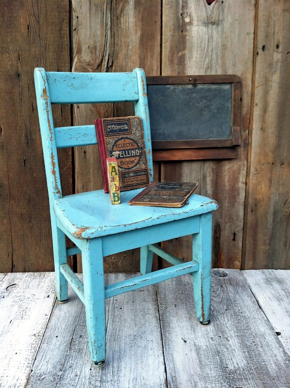 Vintage School Chair - Shabby Paint - Great Color