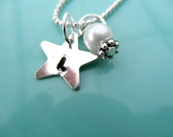 Personalized Star Charm Hand Stamped Necklace