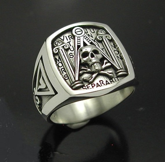 Masonic Skull And Pillar Ring In Sterling Silver By