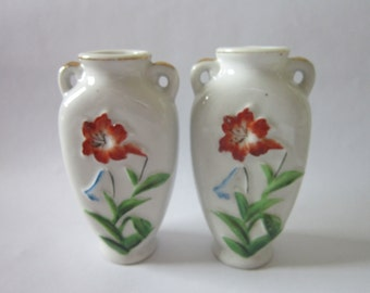 Relief Lily Vases White Made In Occupied Japan 4""