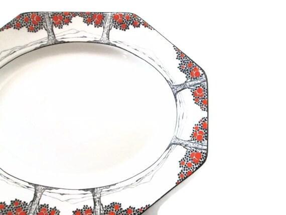 Antique Serving Platter Art Deco Plate Entertaining Dish