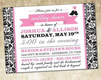 Wedding Shower Invitation (PRINTABLE FILE), Love Bird Bridal Shower, Damask