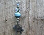 Horse, Bird & Star Pendant Handmade Glass Evil Eye Bead Green Evil Eye Bead Talisman Necklace