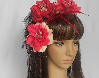 Roses Fascinator Bride,Red Rhinestones Fascinator,Red Roses Feathers Headpiece
