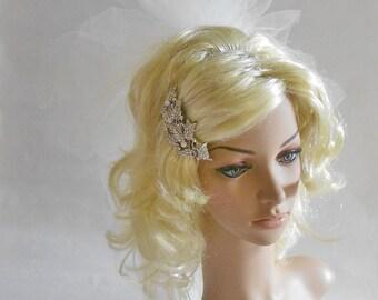 Bridal Hair Clip , Layered Ivory Veil,Bubble Veil,Pearls,Rhinestones Bridal Hair Clip,Bridal Accessories,Puffy Veil