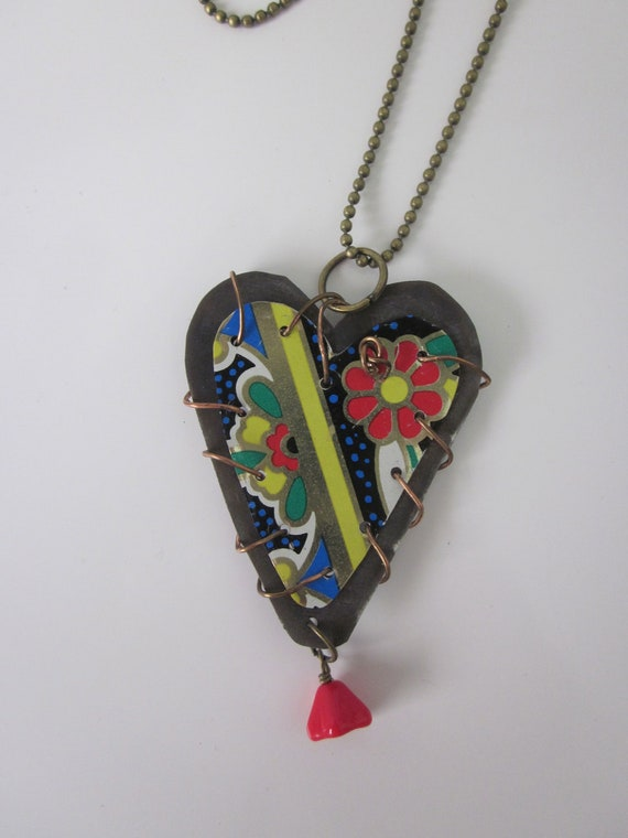 """Tin Jewelry Layered Stitched Heart Pendant """"Garden and Graphics"""" Tin for the Ten Year Anniversary FREE USA SHIPPING"""