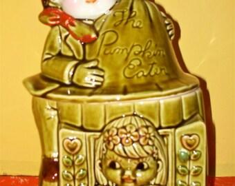 Rare Vintage Kitsch Peter Pumpkin Eater Glazed Ceramic Cookie Jar Japan Retro Kitchen Avocado Green