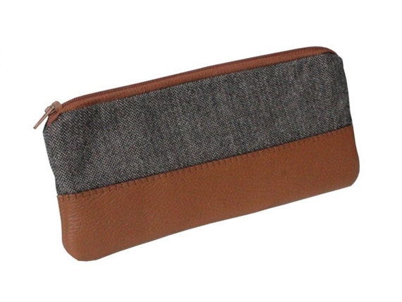 tweed and leather pencil case