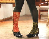 SALE steampunk Spats Waterproof victorian Low Boot Women costume one size spat damask brocade