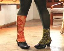 SALE steampunk Spats Waterproof victorian Low Boot Women costume one size spat damask brocade