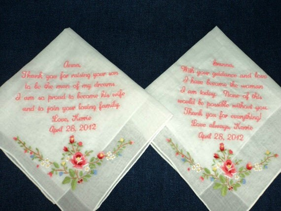 Beautifully Embroidered Wedding Handkerchief Preembroidered for the Bride to give to her loved ones on her Wedding Day