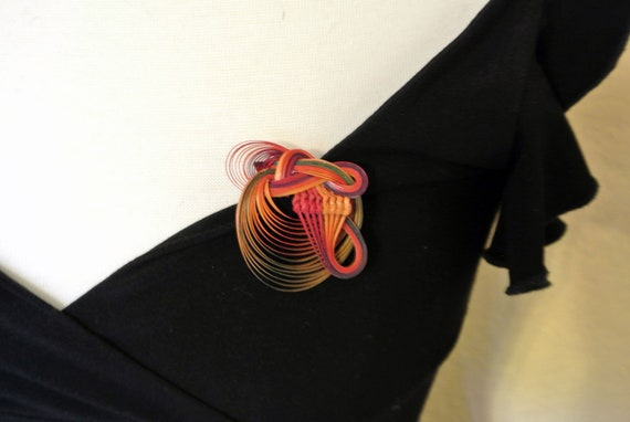 Vintage Abstract Wood Knot Brooch