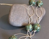 Green Mosaic Turquoise and Silver Ovals necklace