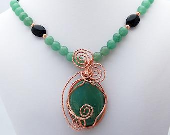 Aventurine, Onyx Copper Pendant Necklace, Handmade Designer Jewelry