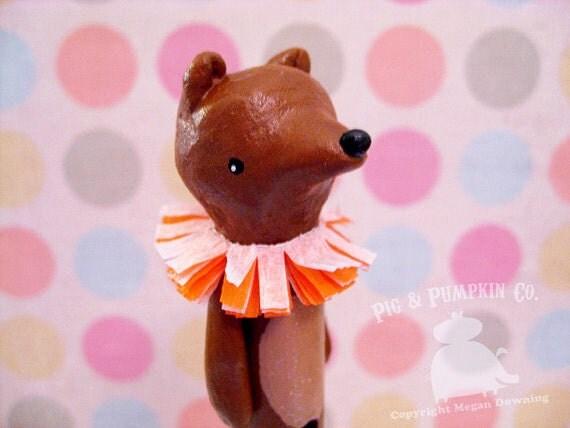 Tabletop Sculpture - Benny the Circus Bear - Original Paperclay Clothespin Art