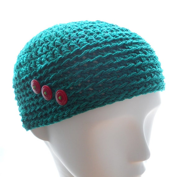 Crochet beanie hat, women's crocheted teeny beanie hat, Christmas green wool-rayon hat, hat with red buttons, winter fashion