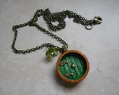 Into the Shire, Hobbit Door Necklace, Painted Wood, Antique Brass Chain, Made to Order