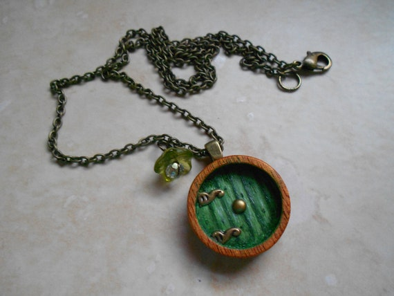 RESERVED Into the Shire, Hobbit Door Necklace, Painted Wood, Antique Brass Chain, Made to Order