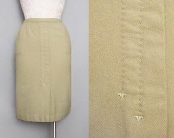 1950s Green Wool Pencil Skirt / Vintage 50s Pea Green Skirt / Medium