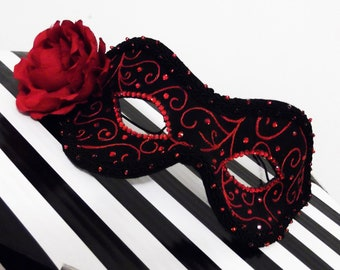 Phantom of the Opera Mask ~Masquerade Ball Mask ~ Black and Scarlet Silk Mask