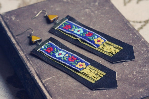 RESERVED FOR ANNA solle. a pair of summery blue and yellow beaded leather earrings.