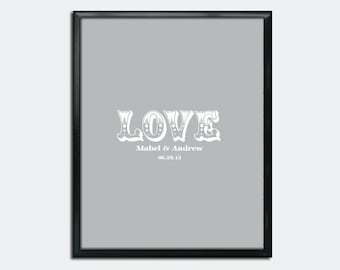 Wedding Guest Book Poster PDF - Vintage Font LOVE - Personalized Printable