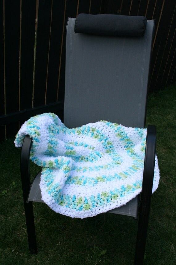 Crochet Circle Round Baby Afghan Blanket in Greens Blues and White