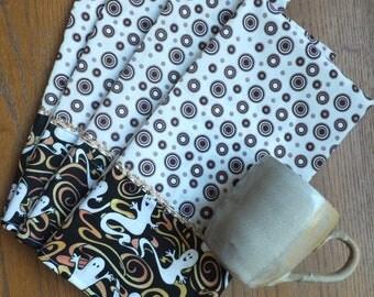4 Halloween Dish Towels, Tea Towels, Halloween Ghost Home Decor, Holiday Decor