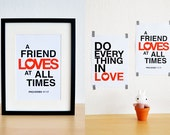 A Friend Loves At All Times. Proverbs 17:17. 8x10.  Christian Poster Print. Bible Verse.