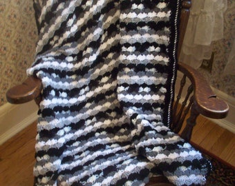 Oreo Black Gray & White Wave Striped Lap Blanket