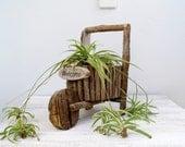 Garden Decor twigs Wheelbarrow, Rustic woodland Planter made of twigs, Garden party, Welcome home entrance, Nature decor, country